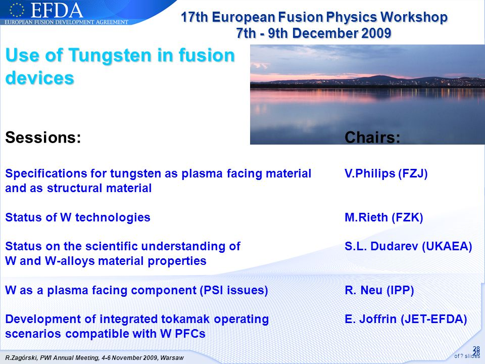 17th European Fusion Physics Workshop 7th - 9th December 2009