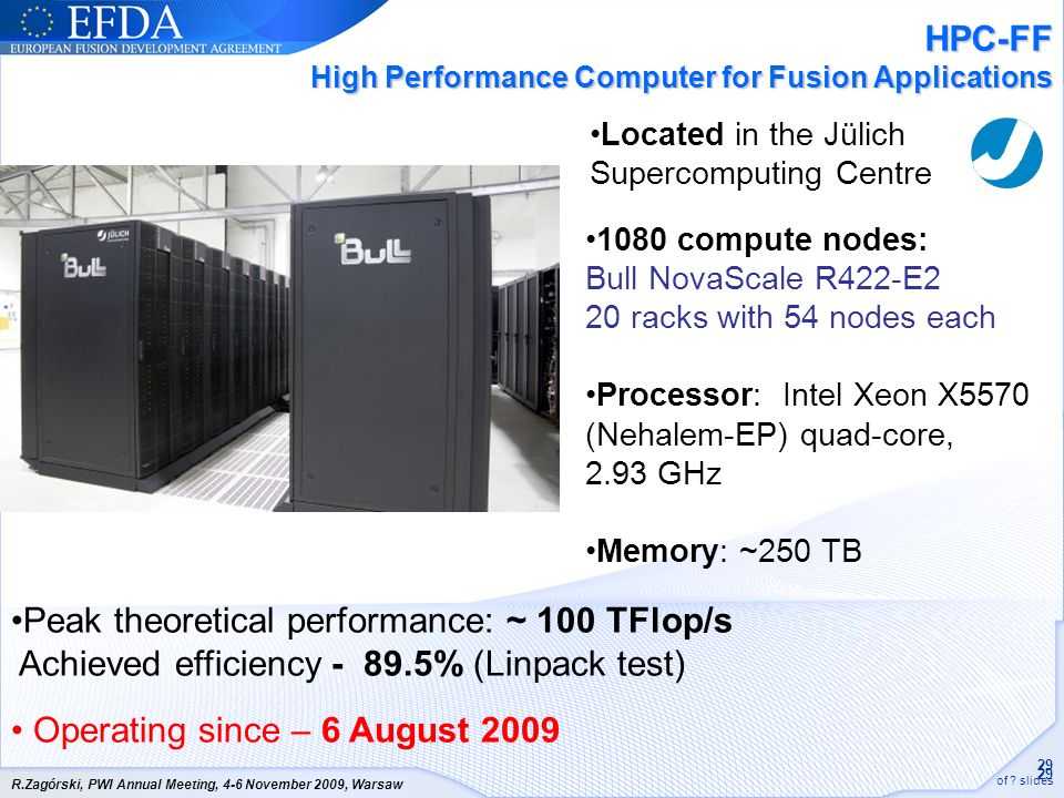 HPC-FF High Performance Computer for Fusion Applications