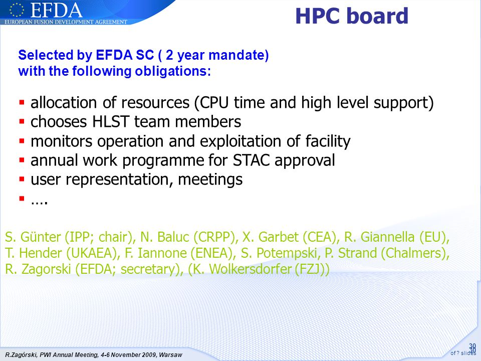 HPC board allocation of resources (CPU time and high level support)