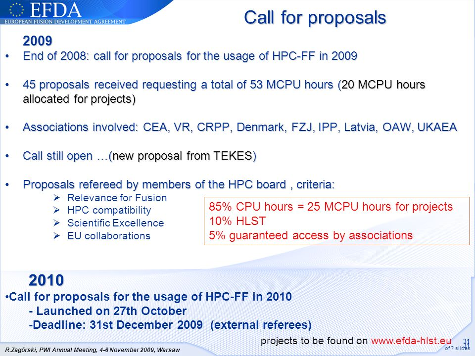 Call for proposals 2009. End of 2008: call for proposals for the usage of HPC-FF in 2009.