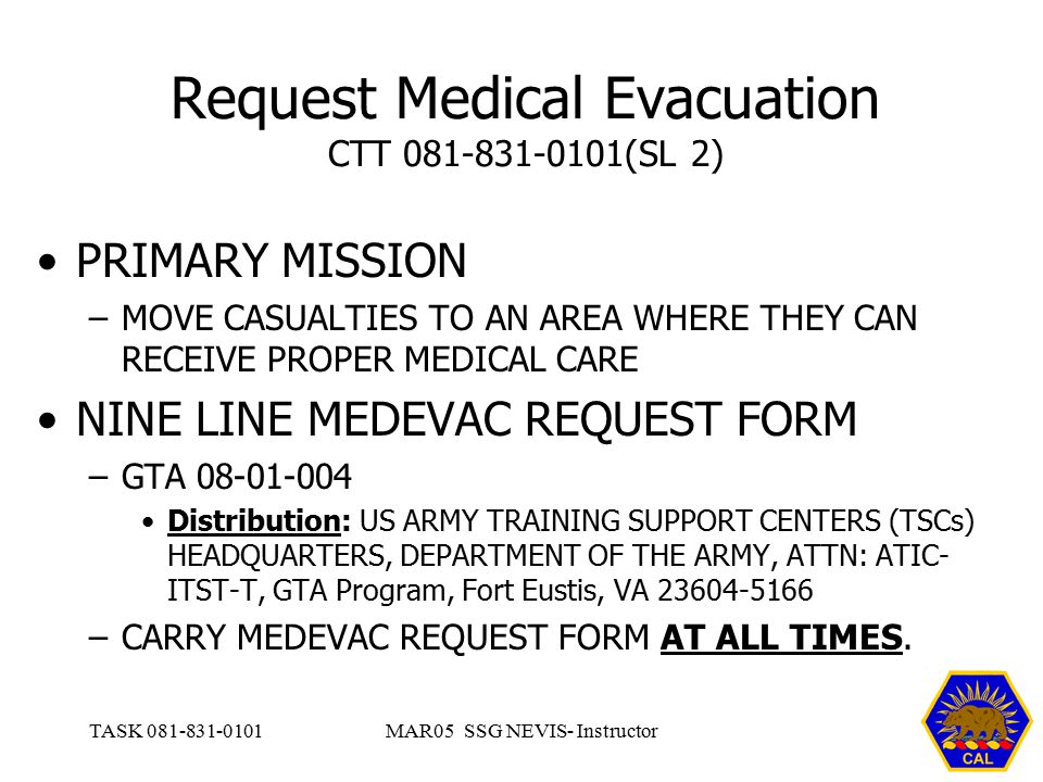 REQUEST MEDICAL EVACUATION - ppt video online download