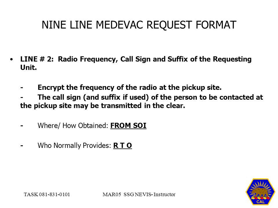 NINE LINE MEDEVAC REQUEST FORMAT