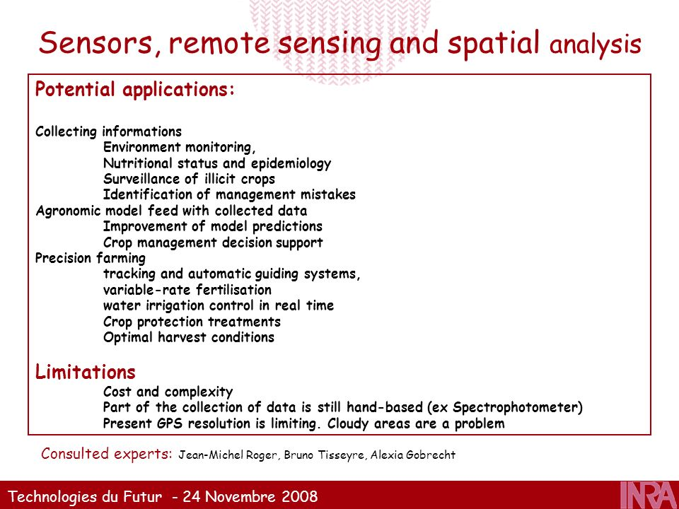 Sensors, remote sensing and spatial analysis