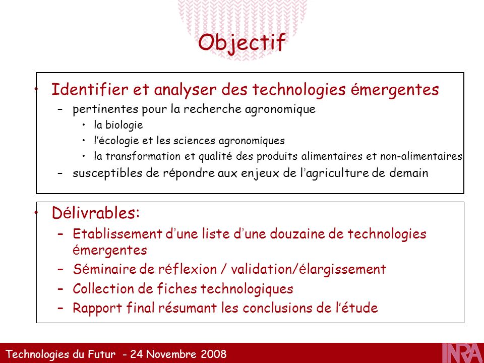 Objectif Identifier et analyser des technologies émergentes