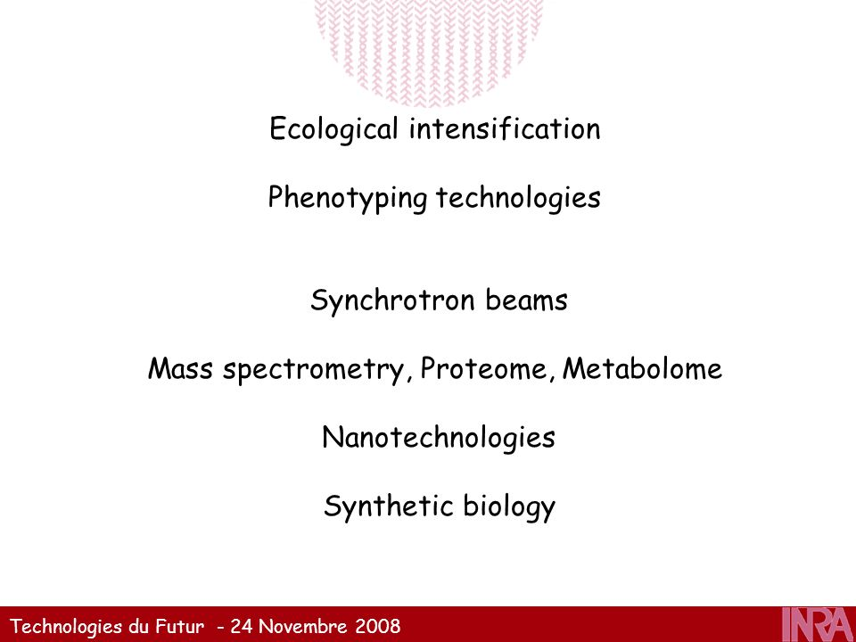 Ecological intensification Phenotyping technologies Synchrotron beams Mass spectrometry, Proteome, Metabolome Nanotechnologies Synthetic biology