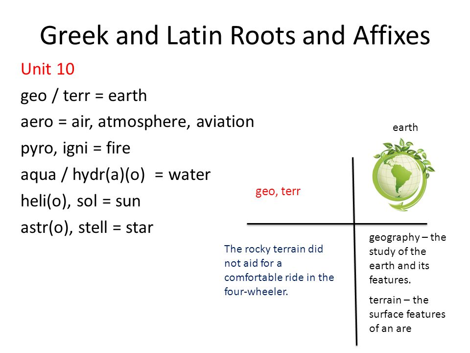 Greek and latin roots and affixes ppt video online download for Terr root word