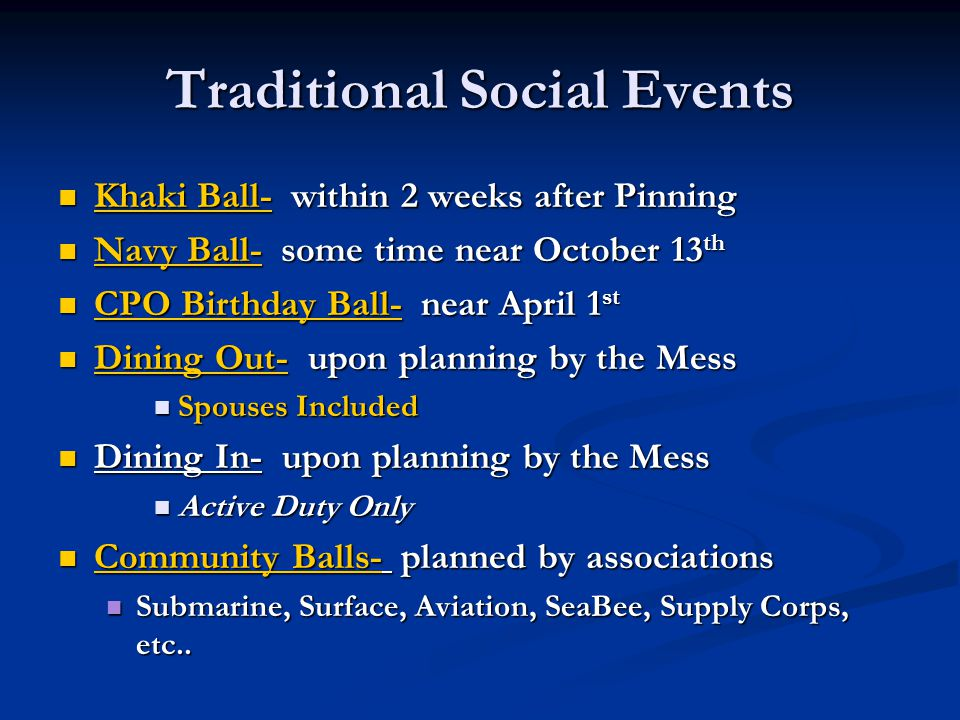 Traditional Social Events