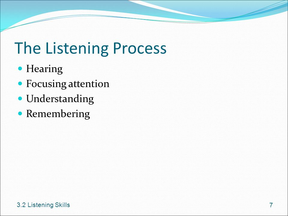 The Listening Process Hearing Focusing attention Understanding
