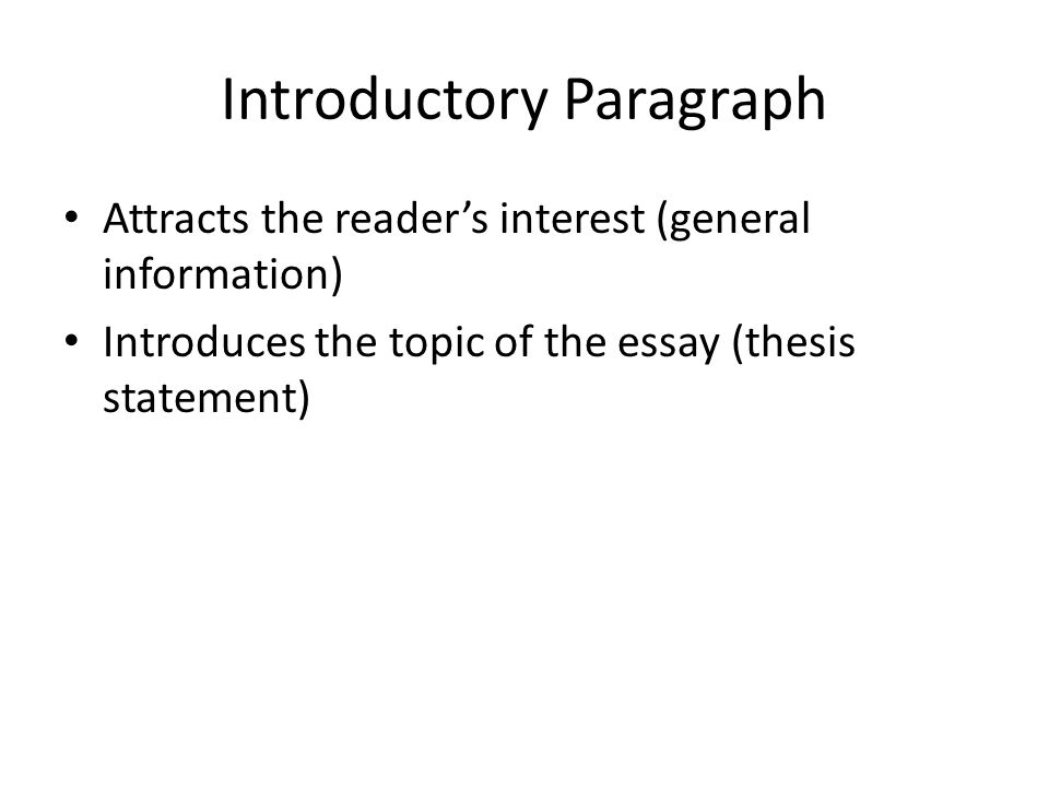 general introductory statement essay Writing introductions -- help writing admissions essays the introduction is the first sentence of your essay and it plays the dual role of setting the theme of your.