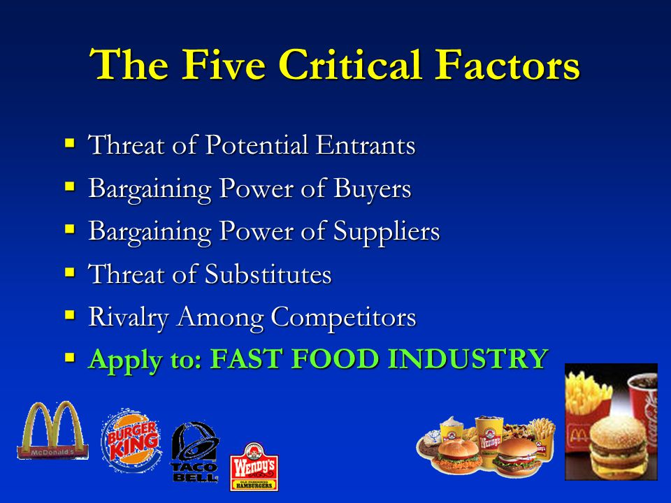 fast food industry and driving forces Five forces analysis of the fast-food industry: the fast-food industry includes group of companies that are offering different products and services, which satisfy customers' needs these products and services might be considered as close substitutes for each other.