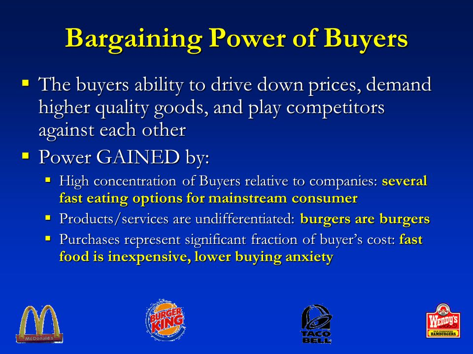bargaining power of suppliers china fast food Five forces model bargaining power of suppliers - porters 5 forces   suppliers play a key role in the value chain of the fast food industry.