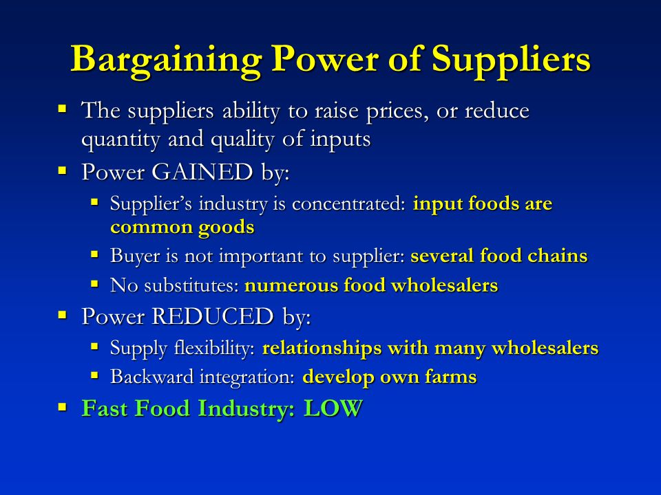 bargaining power of suppliers in film industry Porters five force analysis for telecom industry the bargaining power of suppliers is less – there is little or no threat of forward integration.