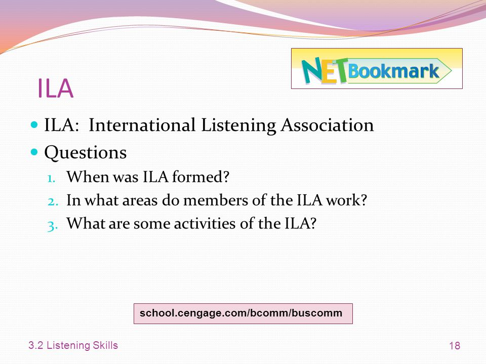 ILA ILA: International Listening Association Questions