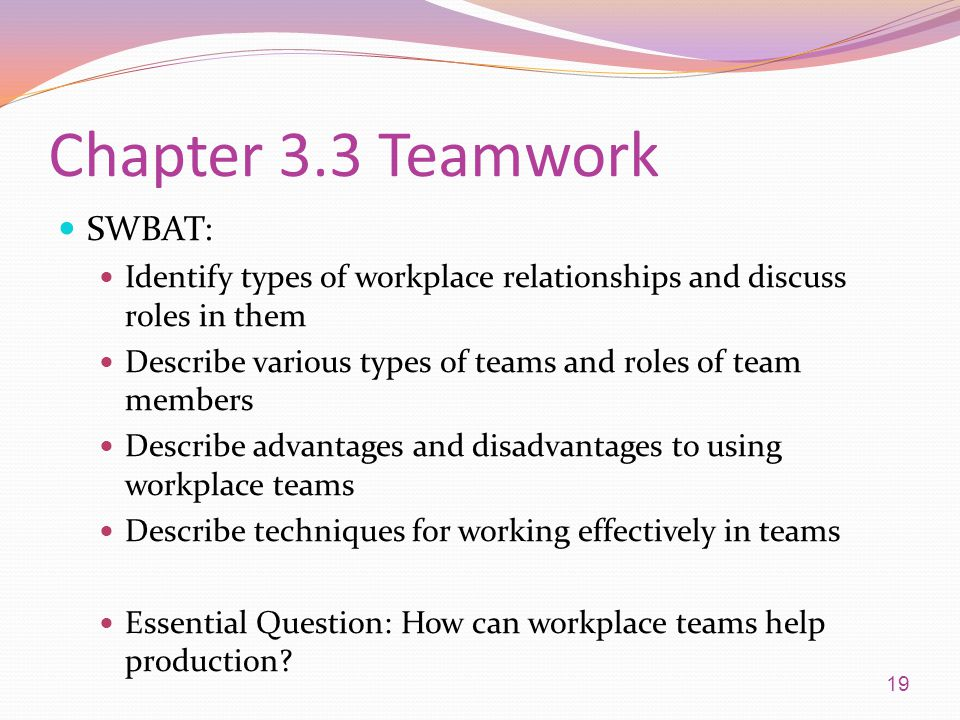 Chapter 3.3 Teamwork SWBAT: