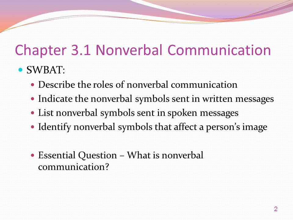 Chapter 3.1 Nonverbal Communication