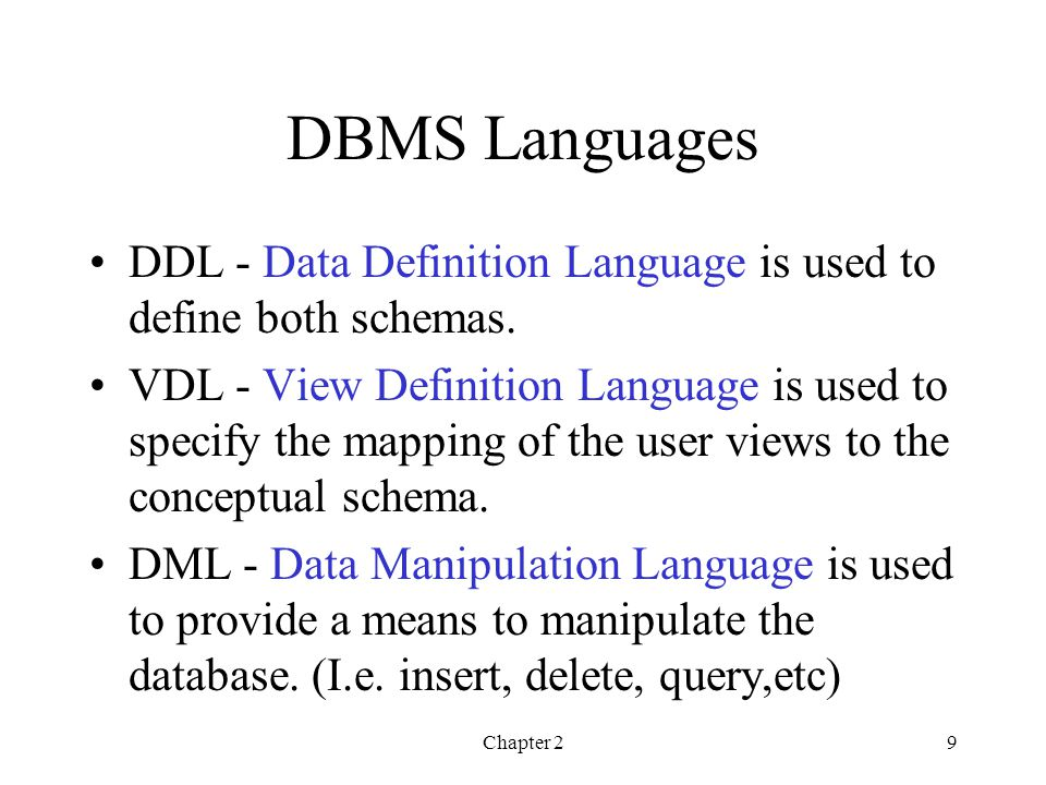 DBMS Languages DDL - Data Definition Language is used to define both schemas.