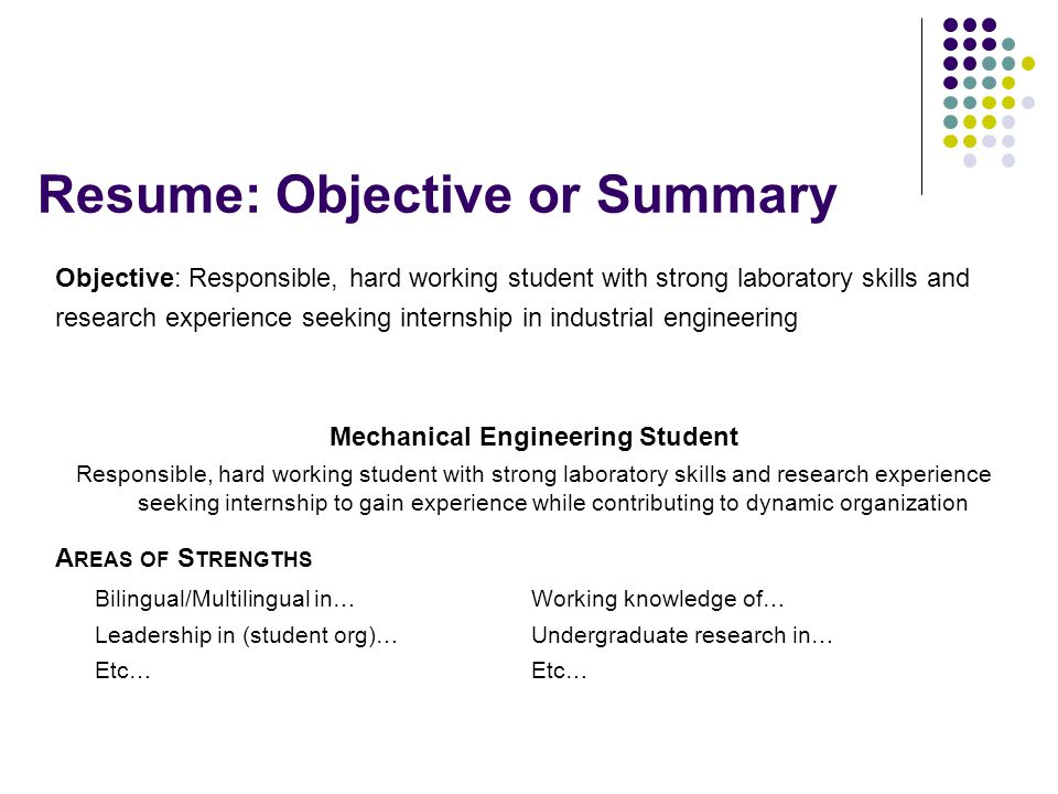 Resume Objective For Research Internship