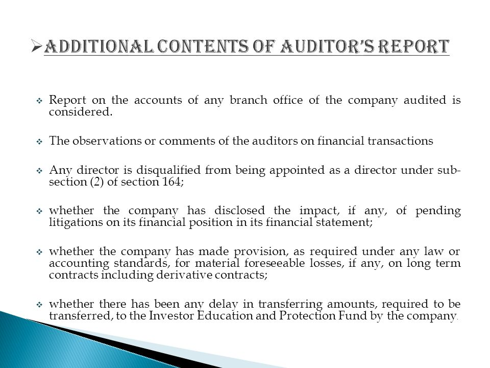 additional CONTENTS OF AUDITOR'S REPORT