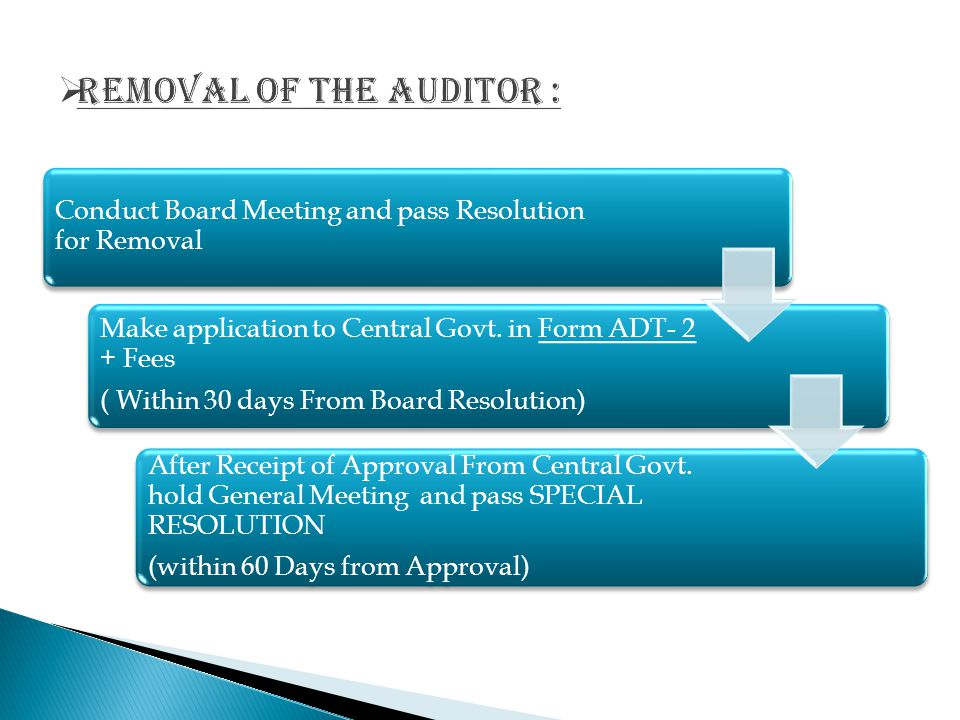Removal of the auditor :