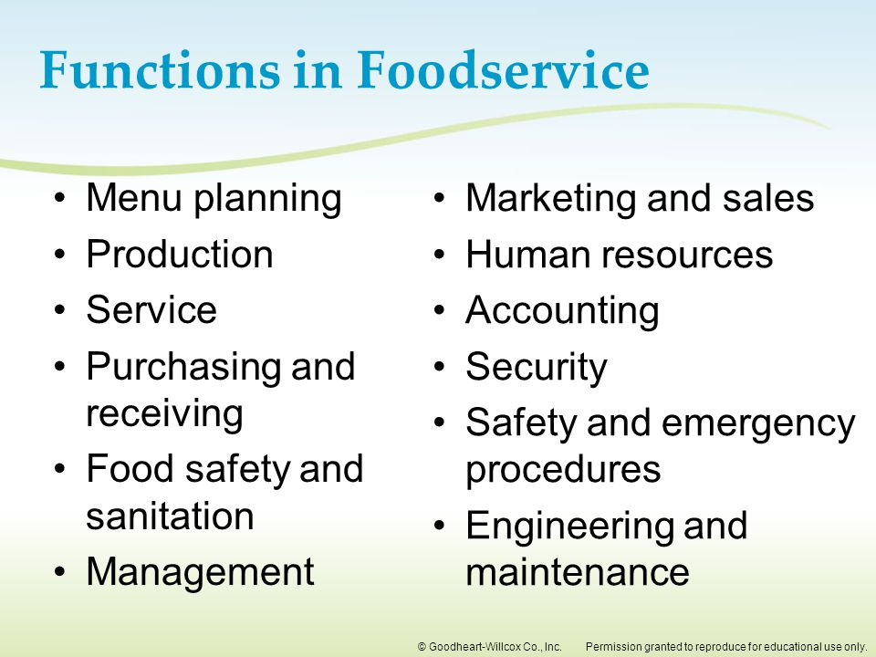 Functions in Foodservice