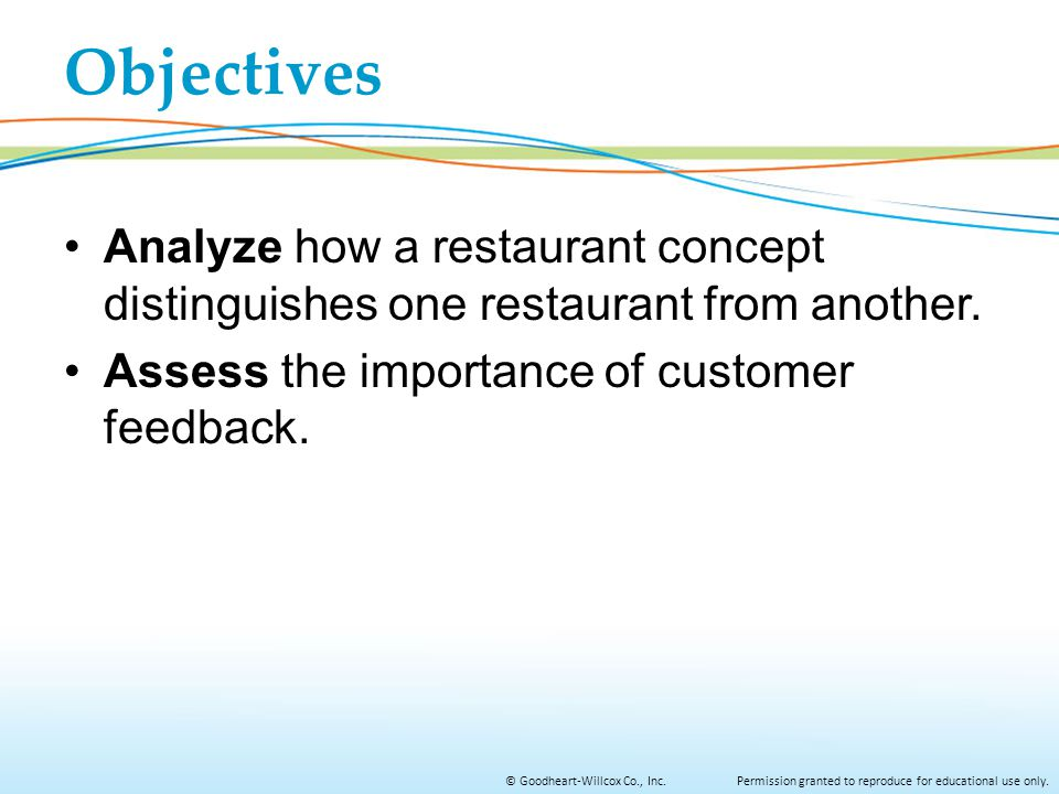 Objectives Analyze how a restaurant concept distinguishes one restaurant from another.