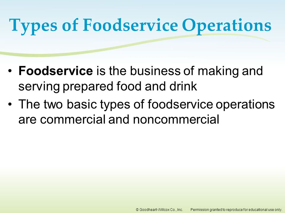 Types of Foodservice Operations