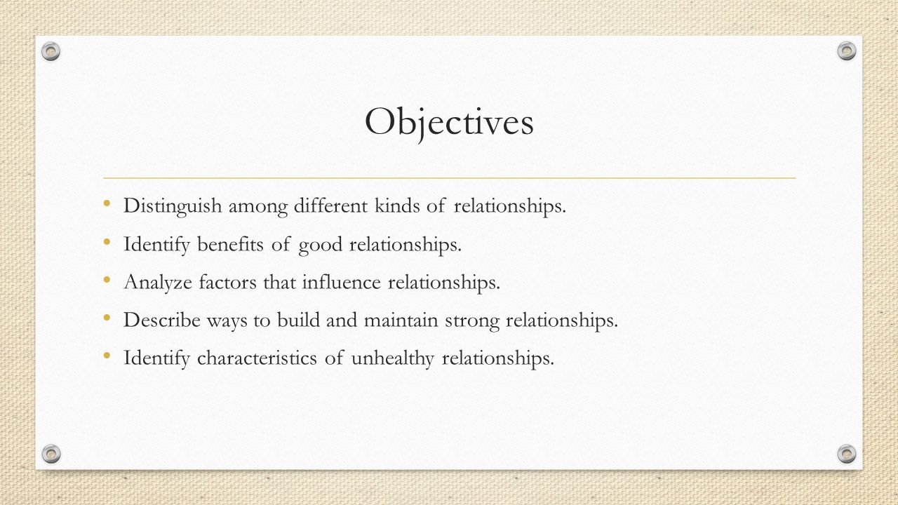Objectives Distinguish among different kinds of relationships.