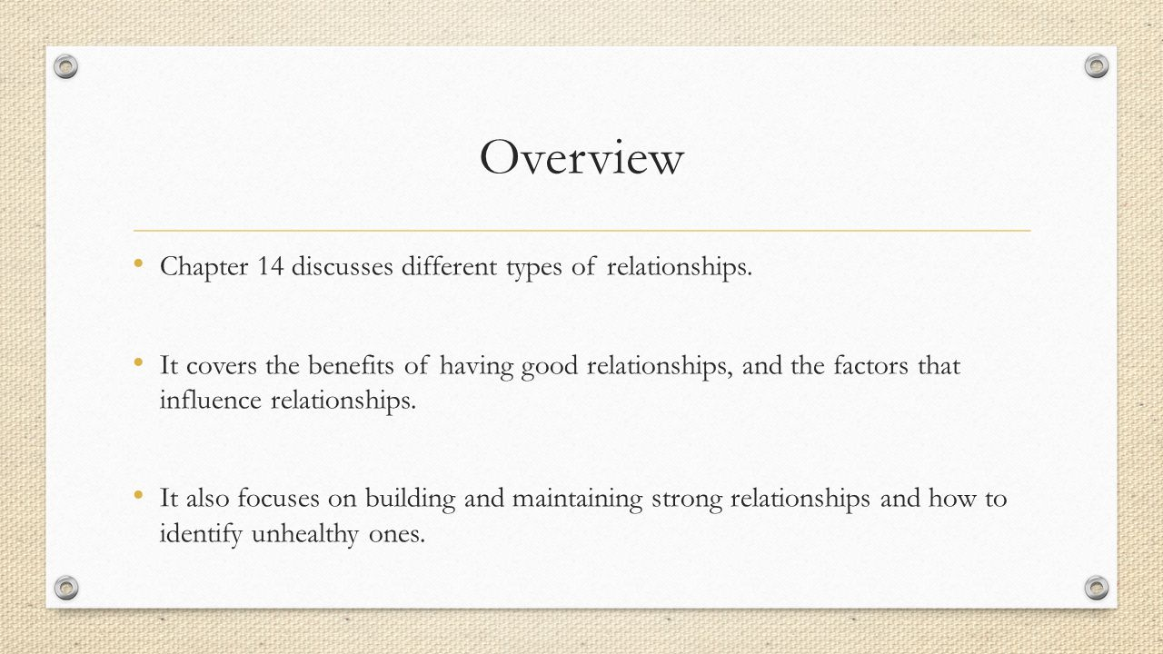 Overview Chapter 14 discusses different types of relationships.