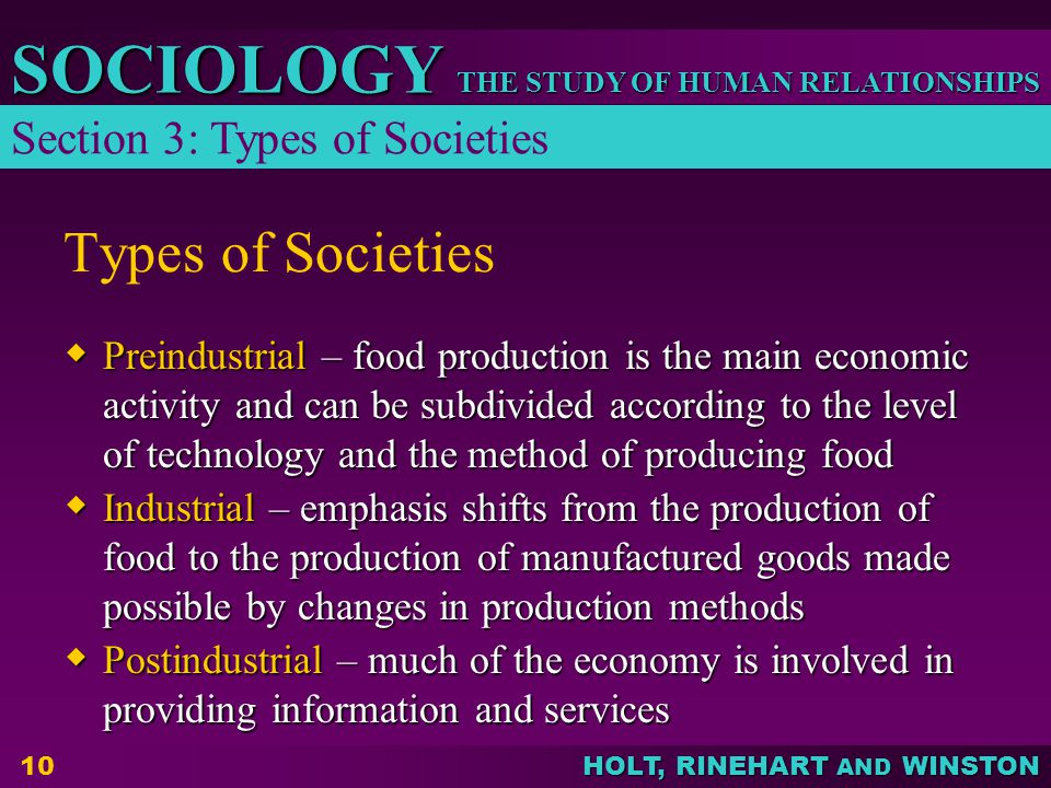 Types of Societies Section 3: Types of Societies