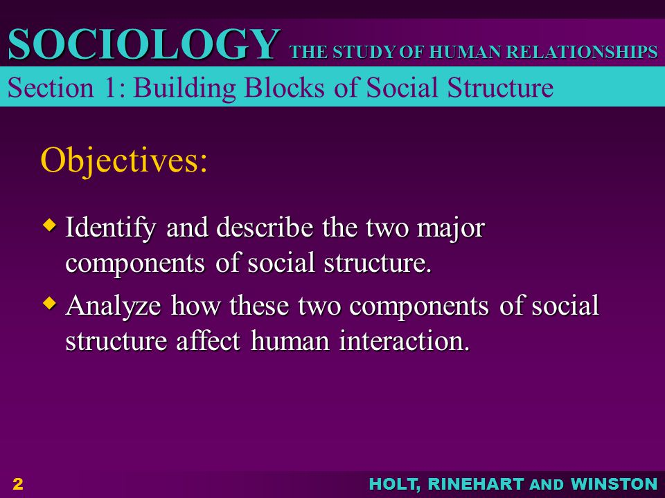 Objectives: Section 1: Building Blocks of Social Structure