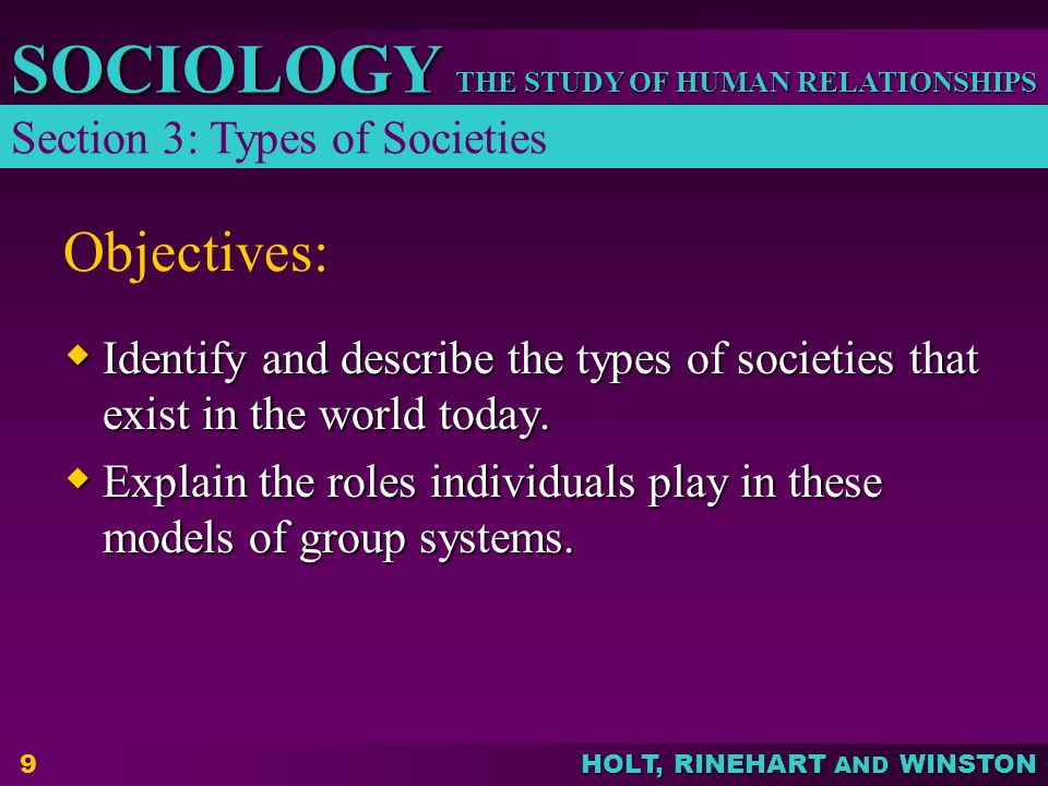 Objectives: Section 3: Types of Societies