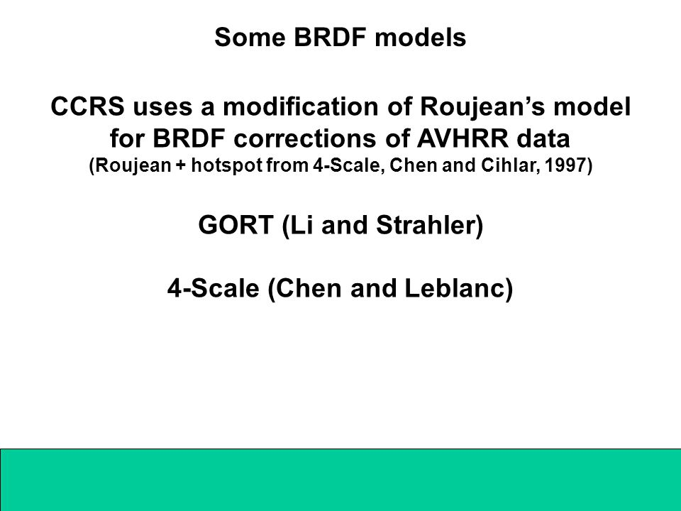 CCRS uses a modification of Roujean's model