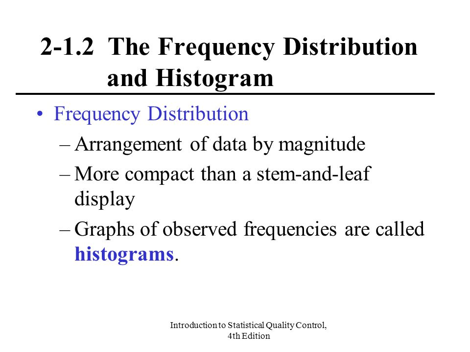 2-1.2 The Frequency Distribution and Histogram