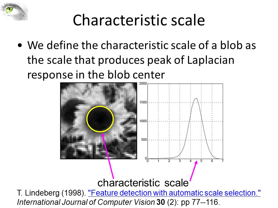 Characteristic scale We define the characteristic scale of a blob as the scale that produces peak of Laplacian response in the blob center.