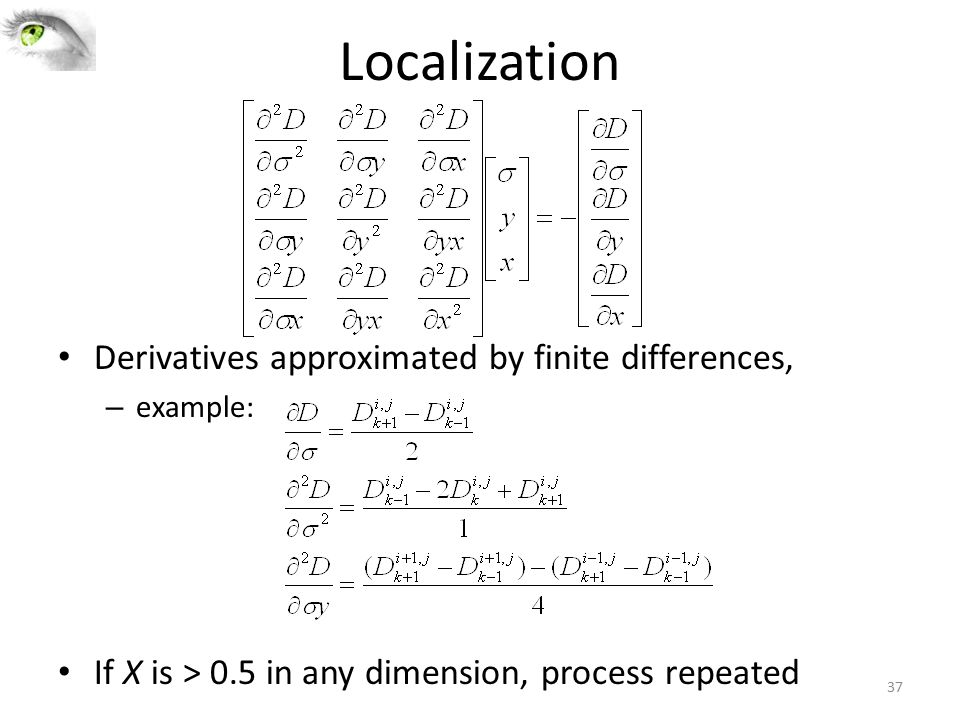 Localization Derivatives approximated by finite differences,