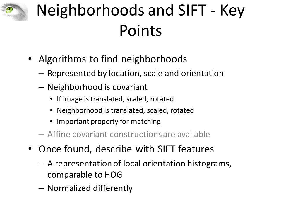Neighborhoods and SIFT - Key Points