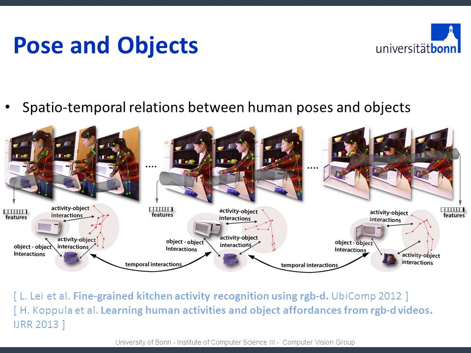 Pose and Objects Spatio-temporal relations between human poses and objects.