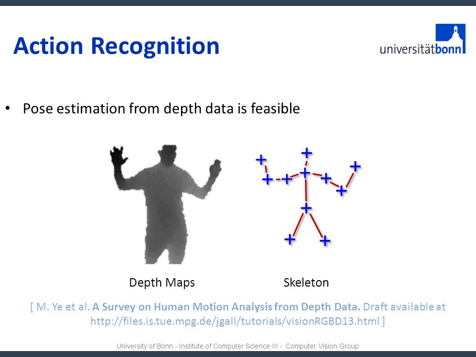 Action Recognition Pose estimation from depth data is feasible