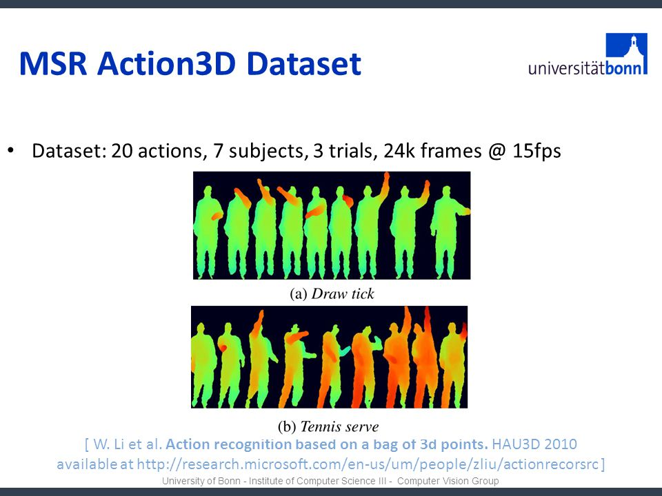 MSR Action3D Dataset Dataset: 20 actions, 7 subjects, 3 trials, 24k 15fps.