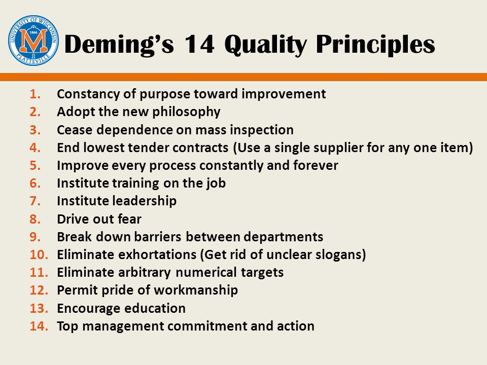 deming principles Deming philosophy synopsis the philosophy of w edwards deming has been summarized as follows: dr w edwards deming taught that by adopting appropriate principles of.