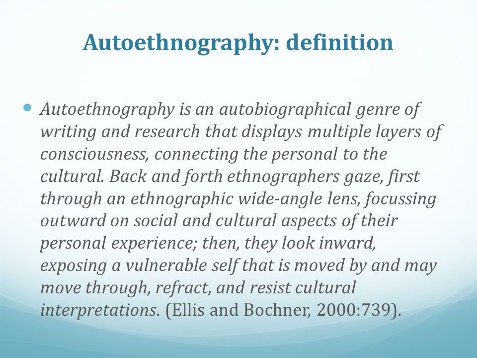 thesis autoethnography Ucation, autoethnography introduction the past two decades have seen increasing attention in christian spirituality and theology to environmental matters within the.