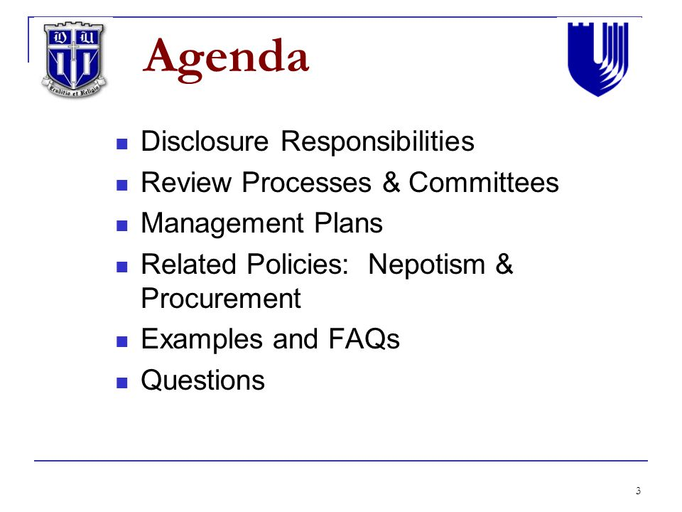 Conflict of interest at duke identification and management ppt 3 agenda disclosure responsibilities review processes committees management plans pronofoot35fo Images
