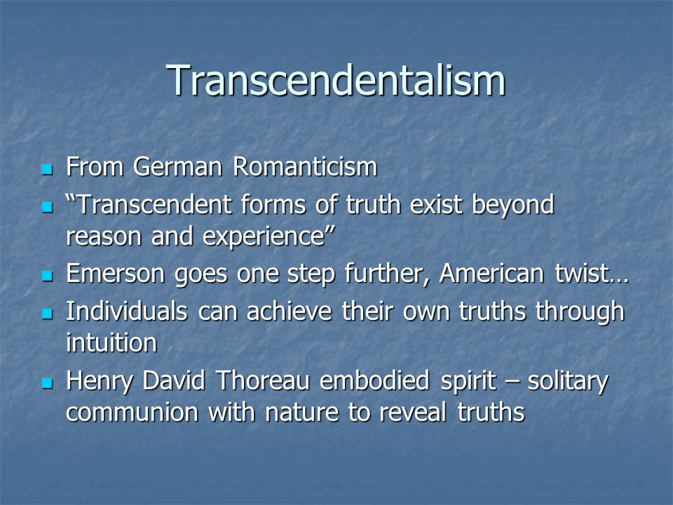 Transcendentalism From German Romanticism