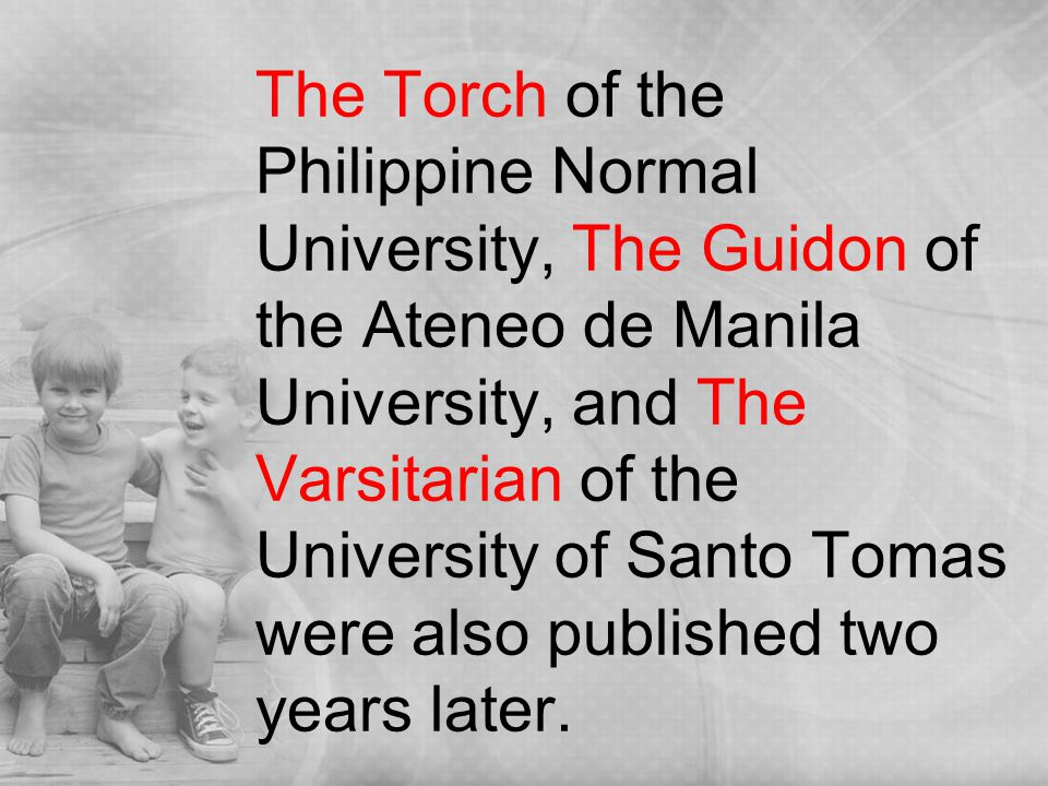 history of journalism in the philippines Alejandro roces sr, the father of modern journalism in the philippines, bought manila times on 1927 and was also the owner of tvt chain of newspapers that consists .