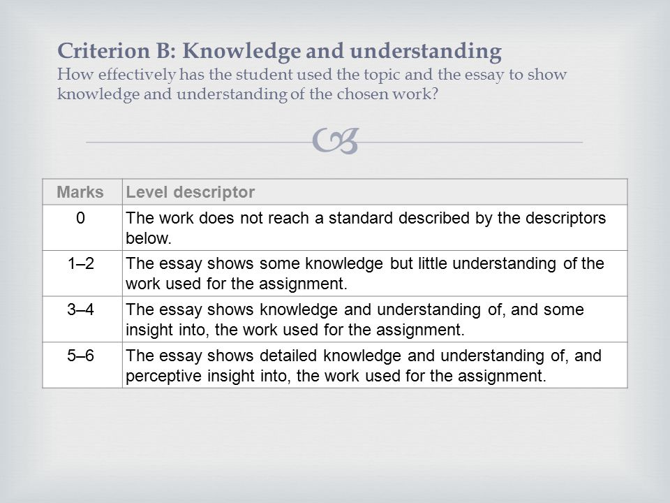 english literature hl sl ppt video online  criterion b knowledge and understanding how effectively has the student used the topic and the