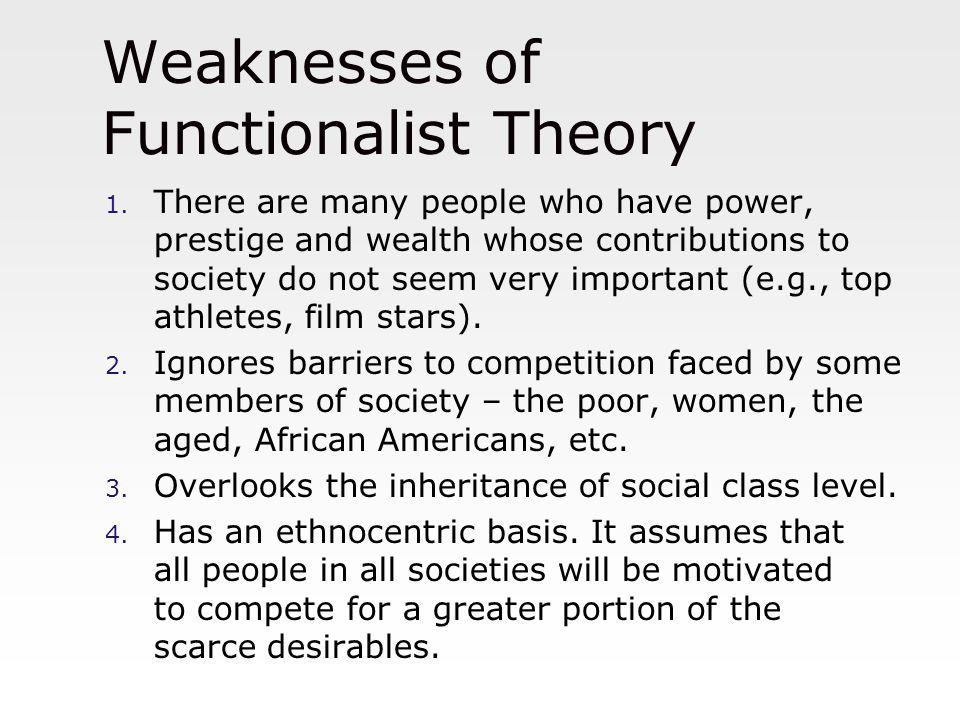 do functionalist and conflict theories explain trends and Many different theories were propounded to define and explain social change   he believed that there was a historical trend, or evolution, from a low to a high   conflict theorists do not believe that societies smoothly evolve to higher level.