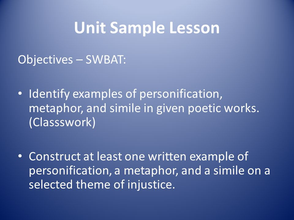 social justice and figurative language in latino literature ppt  unit sample lesson objectives swbat