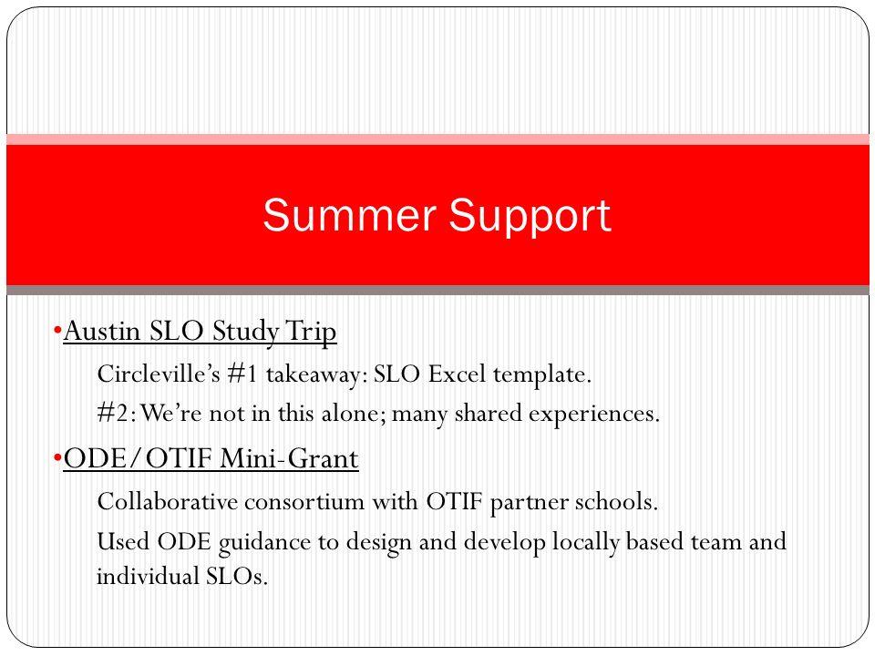 Summer Support Austin SLO Study Trip ODE/OTIF Mini-Grant