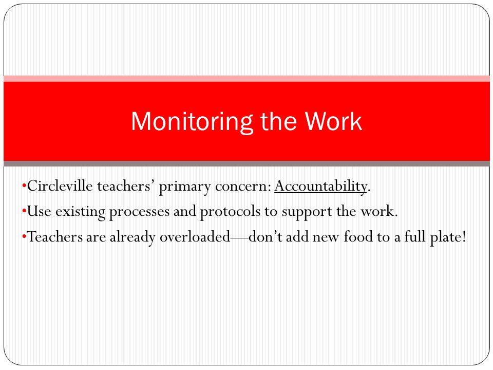 Monitoring the Work Circleville teachers' primary concern: Accountability. Use existing processes and protocols to support the work.
