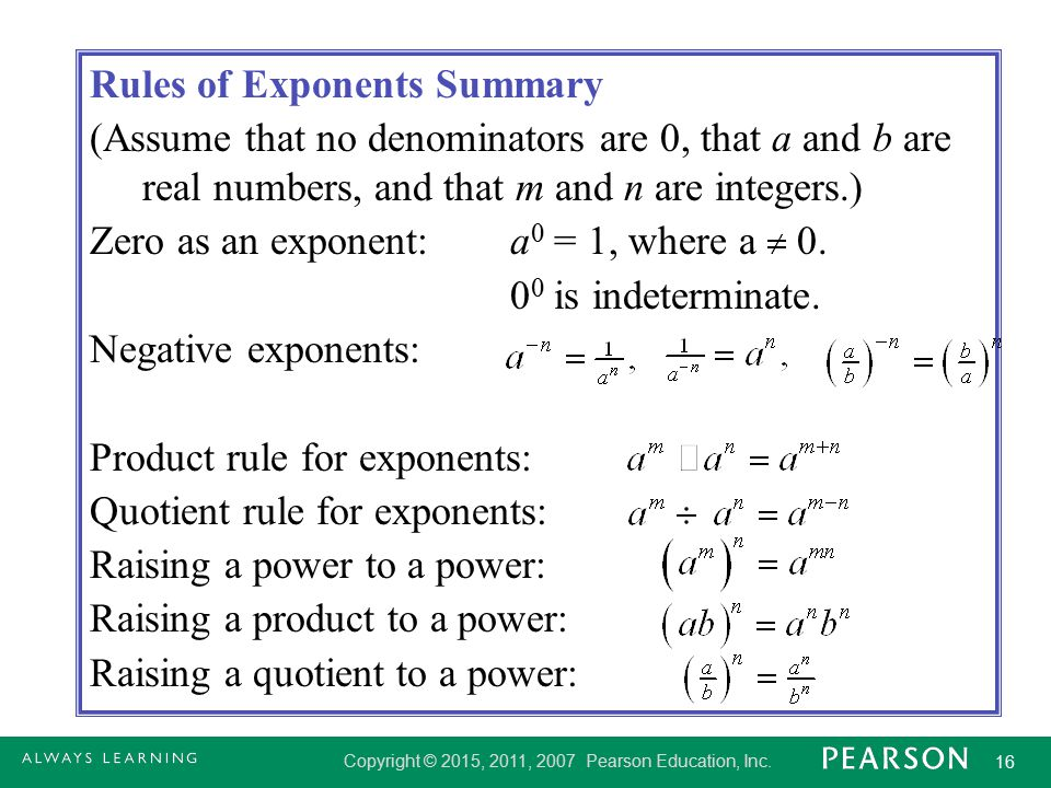 Rules of Exponents Summary